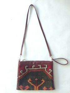 Vintage Wool Kilim Rug  Leather  Shoulder Bag Crossbody Handbag  Purse