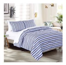 New Light Blue Plaid Stripe Full / Queen size Comforter Set Bed in a Bag Sheets