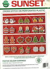 Sunset Christmas Cross Stitch Kit FESTIVE HOLIDAY EARRINGS 18319 MIP