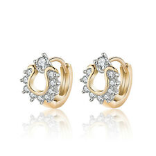 18 k Gold Plated Jewellery Small Baby Girls Hoops Sunflower First Earrings E969