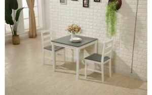 Small Grey White Wooden Dining Table And 2 Chairs Set Kitchen Diner Breakfast