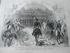 Gravure 1876 - Carrousel Militaire au palais de l'industrie