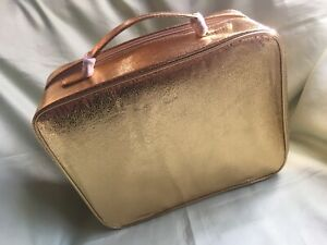 ESTEE LAUDER Gold Foil Extra Large Makeup Case With Mirror-New