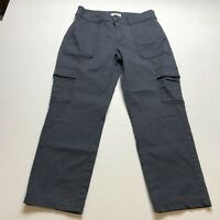 Loft Straight Crop Cargo Pocket Gray Pants Size 6 A935