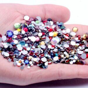 Glitter Crystal AB Non HotFix Rhinestones White Clear 3D Nail Art Stones Strass