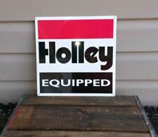 Holley Equipped Metal Sign Carburetor Garage Shop Gasoline Gas Oil 12X12 50089