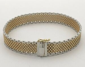"""14K YELLOW AND WHITE GOLD BEADED LINK BRACELET  SIZE 7 1/4"""""""