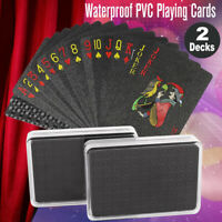 Creative Waterproof Black Plastic PVC Poker Playing Cards Magic Table Board Game