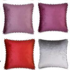 "Luxury 2/4 Pack Cushion Covers Plain Velvet Pom Pom 18""x 18"" Stylish Soft Colour"