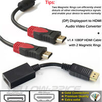 US Displayport DP to HDMI Adapter+10FT HDMI Cable Dell ThinkPad Lenovo HP 1080P