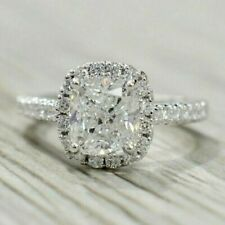 2.33 TCW Cushion Cut Diamond Halo Engagement Ring In 14k White Gold Finish Ring