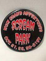"Las Vegas MGM Grand Adventures Scream Park Pinback 3"" Button Pin Halloween VTG"