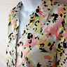 212 Collection women size M stretch pink white floral 3/4 sleeve collared blouse