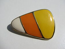 VTG. SIGNED SFJ NUMBERED CONTEMPORARY WHITE YELLOW ORANGE ENAMEL TRIANGLE BROOCH