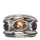DAVID YURMAN Sterling Silver 14K Yellow Gold Citrine Rhodalite Garnet Ring
