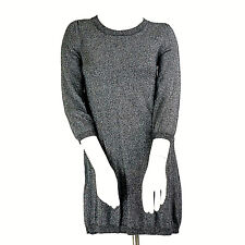 Banana Republic Womens Sweater Dress XS Silver Metallic Thread 3/4 Sleeve Casual