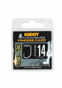 MIDDY 63-13 SPADE END - FINESSE CARP - TEFLON BARBLESS HOOKS - COARSE FISHING
