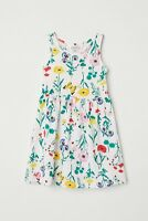 GIRLS WHITE COTTON FLORAL PRINT SUMMER DRESS IN AGES 1.5 TO 10  YEARS BNWT
