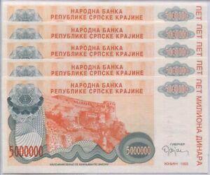 Croatia 5 Million Dinara 1993 P R24 UNC LOT 5 PCS