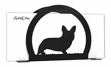 SWEN Products WELSH CORGI CARDIGAN Dog Black Metal Letter Napkin Card Holder