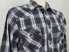 Coastal Western Ranch Mens Shirt Size M White Red Blue Checkered Pearl Snaps