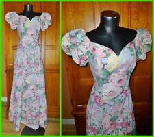 McClintock Bridal vtg 80s English Garden Print Wiggle Maxi Boho Wedding DRESS