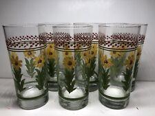 Sunflower Drinking Glasses Farmhouse Checked Design set of 6