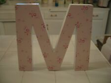 Simply Shabby Chic Wall Decor Wood Block D-R-A-M Letters Pink White With Roses