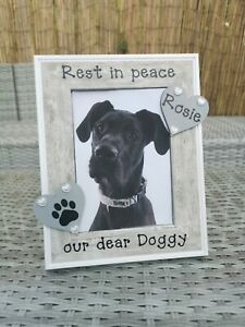Personalised Dog Memorial Photo Picture Frame In Grey In Loving Memory Any Words