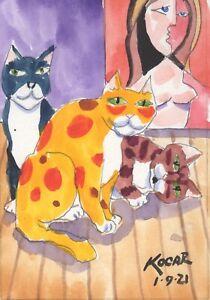 #3595 NEW! Original watercolor by George Kocar  Three Studio Cats