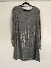 Zara Silver Grey Sequin Dress Tunic Top Size L