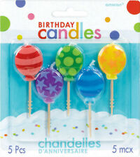 BALLOONS Birthday Cake Pick Candle Set 5 pieces Kids Party
