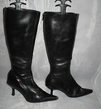 WOMENS ALDO Black Back  Zip Leather Mid Heel Mid Calf Boots Size:4/37(WB419)