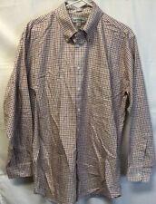 Paul Fredrick 17 X 35 White Checkered Dress Shirt Cotton Trim Fit Button Collar