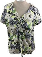 Caribbean Joe knit top size XL yellow gray floral V neck short sleeve