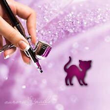Airbrush klebe Schablonen - M432 - NAILART Katze Mietz Halloween Tier Cat 80Stk.