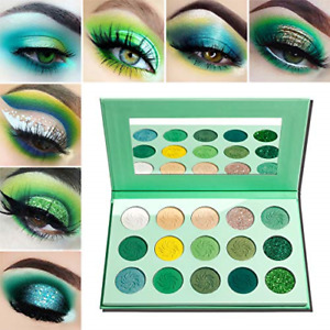 Green Eyeshadow Palette Matte and Glitter,Afflano Highly Pigmented Pro Makeup 15