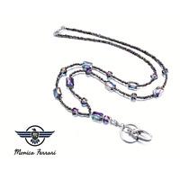 Topaz Gemstone Bead Women's Pretty ID Badge Keys Holder Necklace Lanyard Work