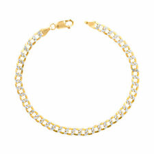 14K Yellow Gold 4.5mm Diamond Cut Pave Cuban Curb Chain Bracelet Anklet 8.5""