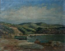 Tableau ancien, Huile sur toile à restaurer, Barques au bord de l'eau, XIXe