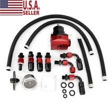 Black-Red Adjustable Fuel Pressure Regulator Kit Oil 0-100psi Gauge -6An Usa