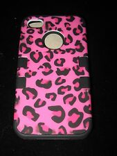 Hot Pink Case for iPhone 4 4s Hot Pink Leopard Pattern 3 Piece Hybrid Silicone