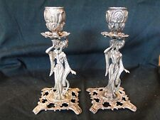 FIGURAL CANDLESTICKS STERLING SILVER NORTHERN EUROPE, ART NOUVEAUX 1890