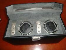 Tourneau Black Genuine Leather 2 Watch Self Winder, Model #450202T,Grey Interior