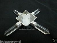 Jet Clear Quartz Pyramid Energy Generator 4 Points Healing Metaphysical Reiki