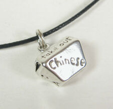 Chinese Take Out Container Charm Pendant Necklace .925 Sterling Silver USA Made