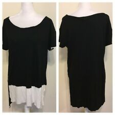 Zara Special T Tee Shirt Layered High Low Black White Sz L Career Modest