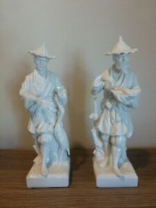 Vintage Fitz and Floyd Chinese Man Porcelain Figurine Pair