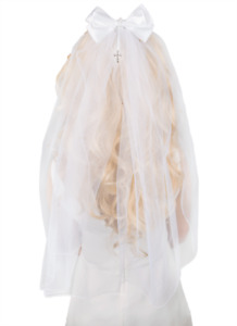 """Girl's White First Holy Communion/Confession Veil with Diamante Cross Bow, 21""""L"""