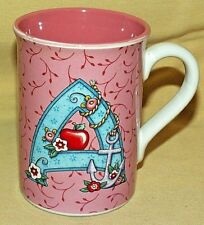 Mary Engelbreit Mug Initial A Apple Anchor 2003 Coffee Tea Cup Pink White Used.